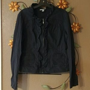 BOGO HALF! Dressbarn Ruffled Zip up Jacket